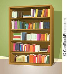 biblioteca, estante libros