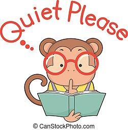 biblioteca, favor, macaco, ilustração, quieto