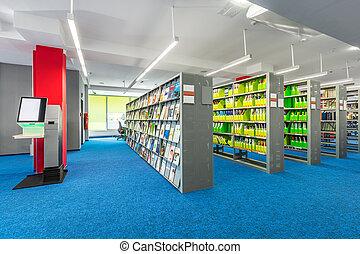 biblioteca, interno, con, funzionale, mensole