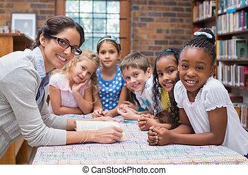 biblioteca, lectura, lindo, alumnos, profesor