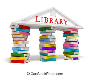 biblioteca, libros, icono, blanco