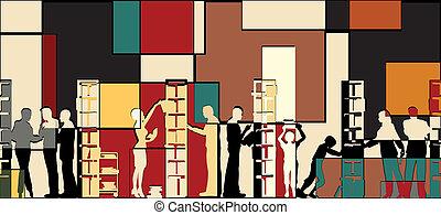 biblioteca, mosaico
