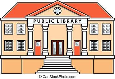biblioteca pública, vetorial, doodle
