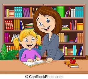 biblioteca, professor, estudar, ajudando, pupila