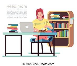 biblioteca, pubblico, concetto, scaffali, disegno, libro lettura, tavola, sedie, donna signora, giovane, library., vettore, appartamento, interno