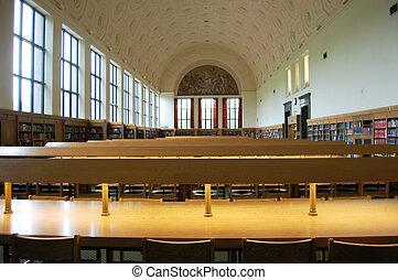 biblioteca, referência, sala