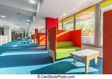 biblioteca, salotto, zona, con, sofà