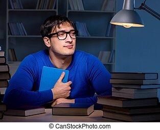biblioteca, tarde noche, preparando, exámenes, estudiante