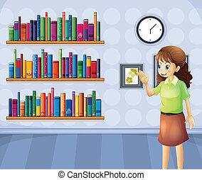 bibliotecario, dentro, hembra, biblioteca