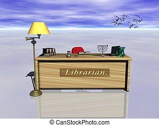 bibliotecario, desk.