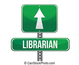 bibliotecario, diseño, camino, ilustración, señal