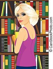 bibliotecario, donna, libri, presa a terra, biblioteca