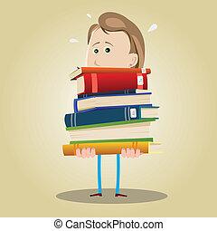 bibliotecario, mujer, ocupado
