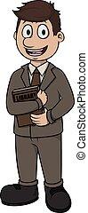 bibliotecario, vettore, cartone animato