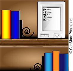 biblioteczka, książki, barwny, ereader