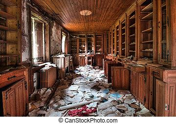 bibliotek, övergiven,  (hdr)