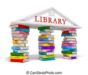bibliotek, bøger, ikon, på hvide