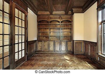 biblioteka, w, luksus dom