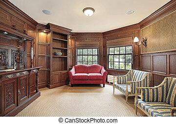 biblioteka, z, czerwony, sofa