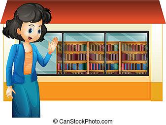 bibliotekarie, utanför, bibliotek