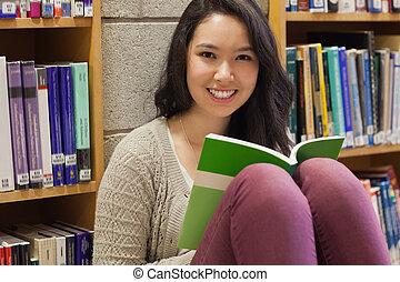 bibliothèque, étudiant, séance, plancher