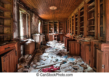 bibliothèque, abandonnés,  (hdr)