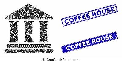 bibliothèque, bâtiment, détresse, timbre, cachets, rectangle, mosaïque