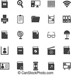 bibliothèque, icônes, blanc, fond