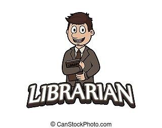 bibliothécaire, conception, illustration, logo