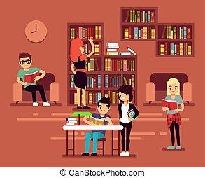 Bibliotheca, school library interior with student vector illustration