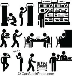 bibliothecaris, boekhandel, bibliotheek, student