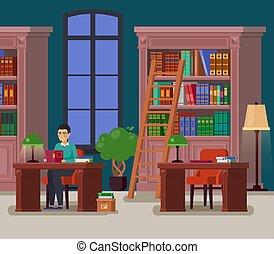 bibliothecaris, of, student, bibliotheek, athenaeum