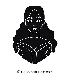 bibliothecaris, pictogram, in, black , stijl, vrijstaand, op wit, achtergrond., bibliotheek, en, boekhandel, symbool, liggen, vector, illustration.