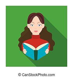 bibliothecaris, pictogram, in, plat, stijl, vrijstaand, op wit, achtergrond., bibliotheek, en, boekhandel, symbool, liggen, vector, illustration.