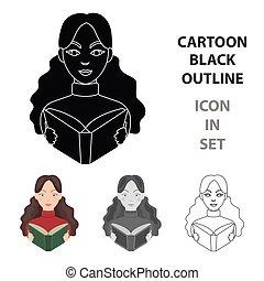 bibliothecaris, pictogram, in, spotprent, stijl, vrijstaand, op wit, achtergrond., bibliotheek, en, boekhandel, symbool, liggen, vector, illustration.