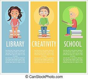 bibliotheek, creativiteit, en, school, met, lezende , geitjes