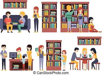 bibliotheek, en, boekhandel, met, mensen, lezende , het kiezen van boeken