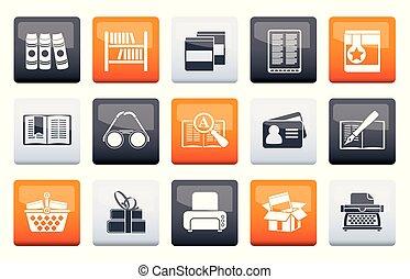 bibliotheek, en, boekjes , iconen, op, kleuren achtergrond