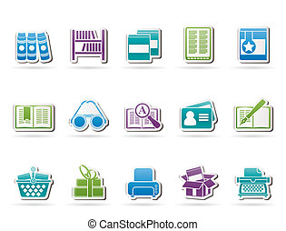 bibliotheek, en, boekjes , iconen