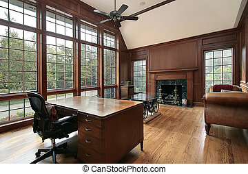 bibliotheek, met, hout, en, marmer, openhaard