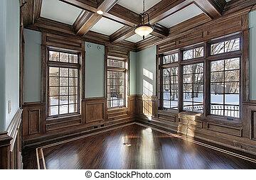 bibliotheek, met, hout, plafond, balken