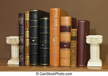 bibliotheek, met, oud, antieke , boekjes