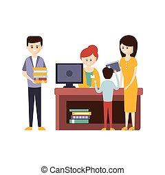 bibliotheek, of, boekhandel, met, mensen, gebruik, helpen, van, bibliothecaris, om te kiezen, de, boekjes