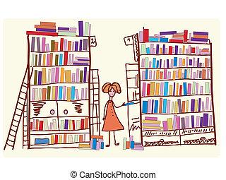 bibliotheek, spotprent, met kind, en, velen, boekjes
