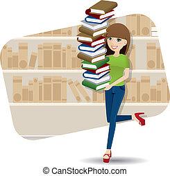 bibliotheek, spotprent, verdragend, stapel, meisje, boek,...