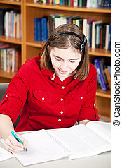 bibliotheek, -, tiener meisje, onderzoek
