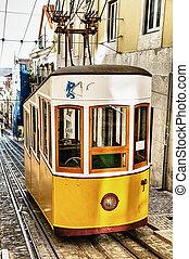 bica, funicular, em, lisboa, portugal