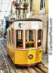 bica, lanový, do, lisabon, portugalsko