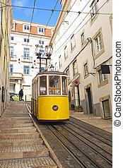 bica, tramvaj, do, lisabon, portugalsko