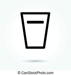bicchiere acqua, icona, vettore, bianco, fondo
